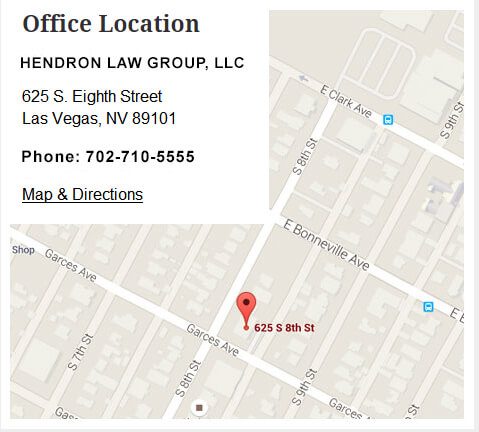 Las Vegas Criminal Defense Attorney - HENDRON LAW GROUP, LLC office map